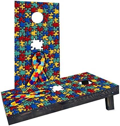 Custom Cornhole Boards CCB1142 C Autism Awareness Cornhole Boards product image