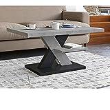 tavolino da salotto calcestruzzo e nero, tavolini da salotto moderni con un ripiano, tavolino soggiorno elegante complemento di qualsiasi soggiorno 90x60x45cm