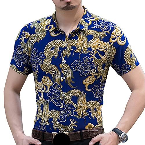 Camisa Floral de Manga Corta con Solapa de Verano, cárdigan Informal para Hombre, Camisa de Media Manga