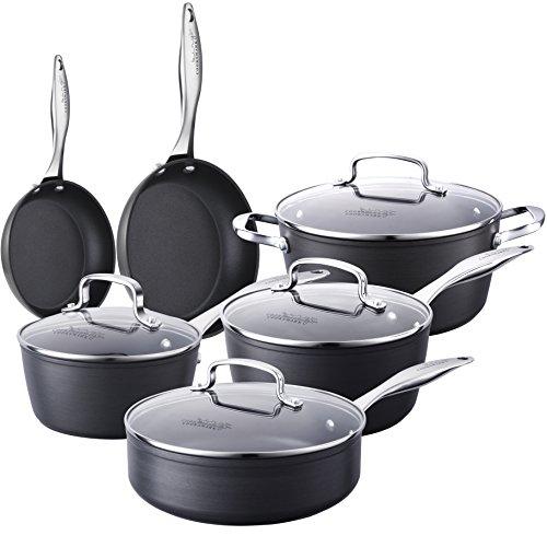 Pots and Pans Set Non-Stick-Hard-Anodized Aluminum Cookware Set Oven Suitable Dishwasher Suitable 10-Piece Black