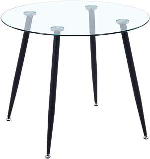 GOLDFAN Table Ronde Salle Manger Table Cuisine Salon Ronde 80cm Table à Manger en Verre avec Pieds en Métal, Noir