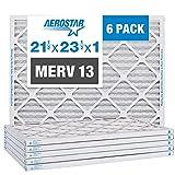 Aerostar 21 1/2x23 1/2x1 MERV 13 Pleated Air Filter, AC Furnace Air Filter, 6 Pack (Actual Size: 21 1/2' x 23 1/2' x 3/4')