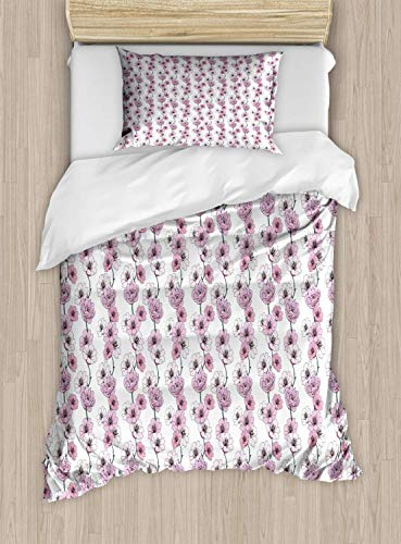 Plant Watercolor Single Bedding Duvet Cover 2 Piece, Vertical Strips with Flower Gardenias, Soft Bedding Protects Set with 1 Comforter Cover 1 Pillowcase, Single Size, Lilac Pale Mauve Jade Green Grey