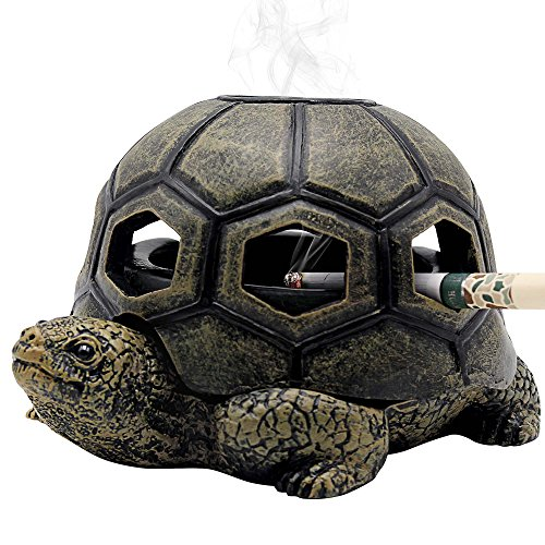 Rabbitroom Turtle Ashtrays for Cigarettes Ashtray with Lid, Creative Cigarettes Ash Tray, Cute Resin Ash Holder for Indoor Outdoor Home Office and Car (Turtle)