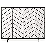 Best Choice Products 38x31in Single Panel Handcrafted Wrought Iron Mesh Chevron Fireplace Screen, Fire Spark Guard for Living Room, Bedroom Décor w/Distressed Antique Finish - Satin Black