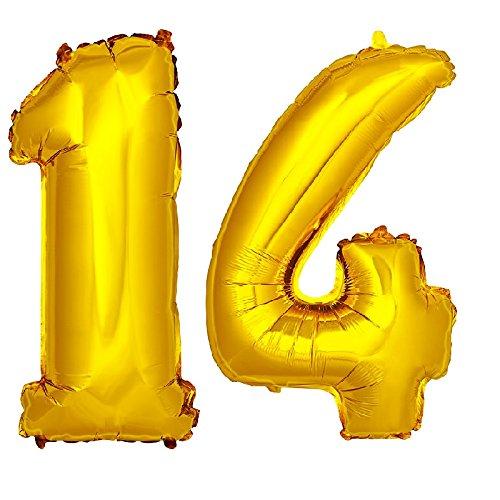 DekoRex® número Globo decoración cumpleaños Brillante para Aire en Oro 40cm de Alto No. 14