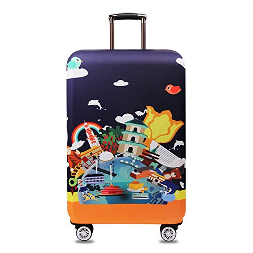 ROUHO Tourism Theme Elastic Luggage Cover Trolley Case Cover Durable Suitcase Protector for 18-32 Inch Case Warm Travel Accessories - 3 S