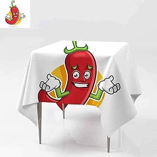 AFGG Waterproof Table Cover,Feeling Sorry Chili Pepper Mascot Chili Pepper Charact,High-end Durable Creative Home 36x36 Inch er chi li Pepper Cartoon