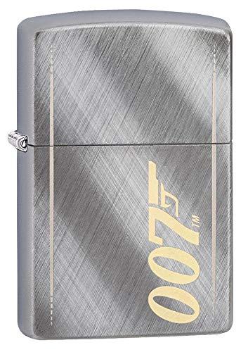 Zippo Briquet Coupe-Vent Unisexe James Bond Gun Logo 007, Gris doré, régulier
