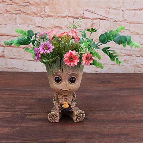 Estatuillas Maceta Grootted Pot Baby Flowerpot Figuras De Accin Toy Pen Pot PVC Hero Modelo Guardians of The Galaxy Crafts Figurine Home Decor, 11X7X7Cm
