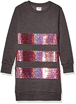 Spotted Zebra Girls  French Terry Long-Sleeve Dresses Charcoal Sequins Small