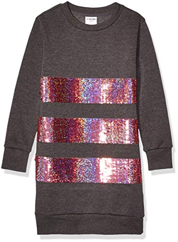 Spotted Zebra French Terry Long-Sleeve playwear-dresses, Charcoal Sequins, 6-7 Jahre (Small)