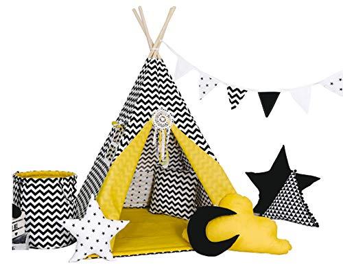 Golden Kids Kinder Spielzelt Teepee Tipi Set für Kinder drinnen draußen Spielzeug Zelt Indianer Indianertipi Tipi mit & ohne Zubehör (mit Zubehör, Schwarzes Zick Zack)