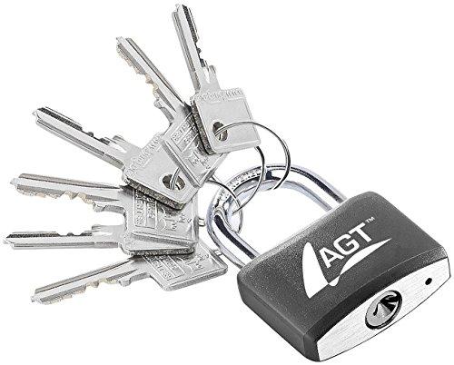 AGT Hängeschloss: Vorhänge-Schloss aus Aluminium, Messing & Stahl, 43 mm, 6 Schlüssel (Schloss mit Zusatzschlüssel)