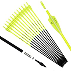 "Material: Carbon fiber. Full of shaft length:30"", Outer diameter: 7.8mm. Spine 500 For 25-60 pounds recurve, compound bow The Shaft and fletching is fluorescent, 2 yellow and 1 white and easy to find 6pcs Nocks for Free. The nock are not glued, it ca..."