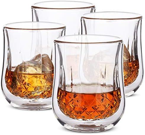 BTaT Whiskey Glasses Double Wall Glasses Set of 4 Bourbon Glasses Cocktail Glasses Scotch Glasses product image