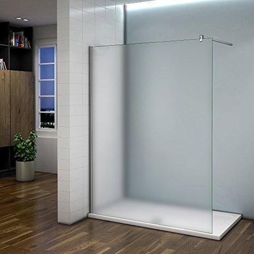 Duschabtrennung Duschwand 120x200cm Walk in Dusche 10mm Nano Milchglas frosted Glas Trennwand mit Stabilisierungsstange
