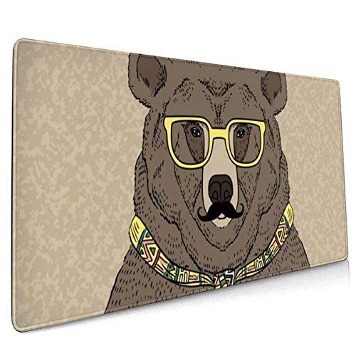 Tragen Sie Krawatte und Brille mit Schnurrbart. Großes Mauspad Tastaturpad Langes, erweitertes Mehrzweck-Computerspiel Mausmatte