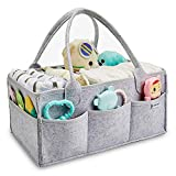 Baby Diaper Caddy Organizer - Baby Shower Gift Basket for Changing Table and Car, Portable Nursery Storage Bin Great for Storing Diapers, Bottles, Baby's Toys (Grey)