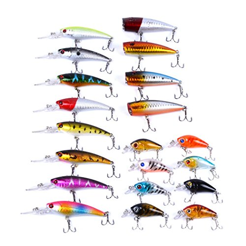 Aorace 20pcs Fishing Lures Kit Mixed Including Minnow Popper Crank...