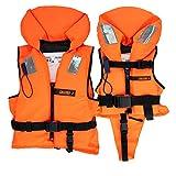 HonuNautic Feststoff Rettungsweste für Kinder und Erwachsene | Feststoffweste | 100 N, CE ISO 12402-4 | Größe 8 | für Erwachsene über 90 kg | Orange