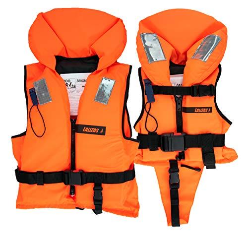 HonuNautic Feststoff Rettungsweste für Kinder und Erwachsene | Feststoffweste | 100 N, CE ISO 12402-4 | Größe 5 | für Erwachsene von 40 bis 50 kg | Orange
