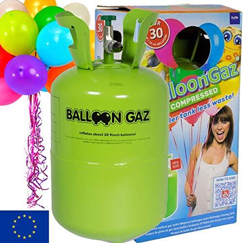 BALLONGAS FÜR 30 LUFTBALLONS + 25 BALLONS + FÜLLVENTIL + 25 ÖKO-BALLONSCHNUR | Helium Einweg Flasche Luftballon Folienballon Deko Geburtstag Party Hochzeit