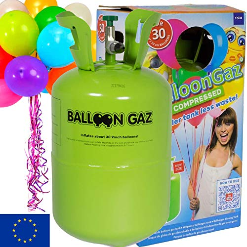 BALLONGAS FÜR 30 LUFTBALLONS + 25 BALLONS + FÜLLVENTIL + 25 ÖKO-BALLONSCHNUR   Helium Einweg Flasche Luftballon Folienballon Deko Geburtstag Party Hochzeit