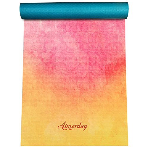 """AIMERDAY Premium Print Yoga Mat Extra Thick 1/4"""" Non Slip Eco Friendly High Density Anti-Tear 72 x 24 Inch Fitness Exercise Mat Floor Pilates Workout Mat for Yoga with Carrying Strap & Bag 6mm"""