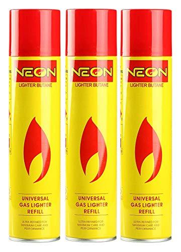 Neon Lighter Gas Refill Butane Universal Fluid Fuel Ultra Refined 300ml 10.14 Oz (3 Pack)
