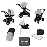 Ickle Bubba Stomp V3 All In One Baby Travel System With Isofix Base| Silver on Black Chassis