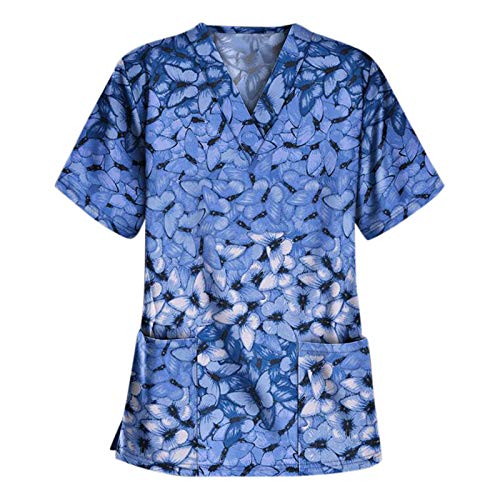 Arbeitskleidung Pflege Damen Bunt mit Motiv T-Shirt Schlupfkasack mit Taschen Kurzarm V-Ausschnitt Schlupfhemd Berufskleidung Krankenpfleger Uniformen Nurse