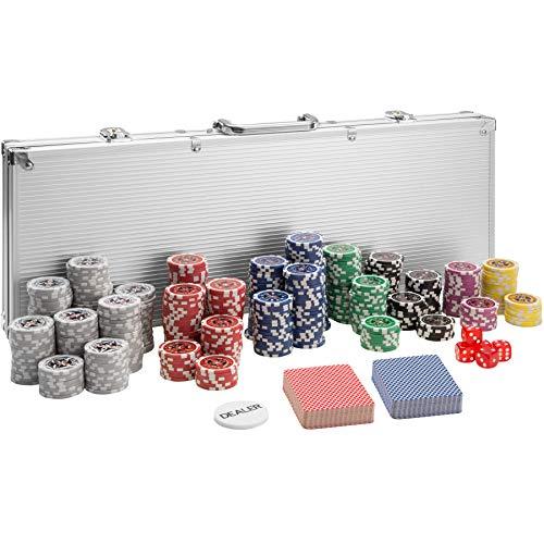 TecTake 402559 Maletín de Póker Aluminio con Fichas Láser Poker Chips, 500 Pieza, Incl. 5 Dados + 2 Barajas de Cartas + 1 Ficha de Dealer, Plateado