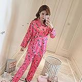 Handaxian Pijama de Mujer Pijama de Primavera y otoño Estampado de Seda Dulce Damas niñas Pijama de Seda Set 2 L