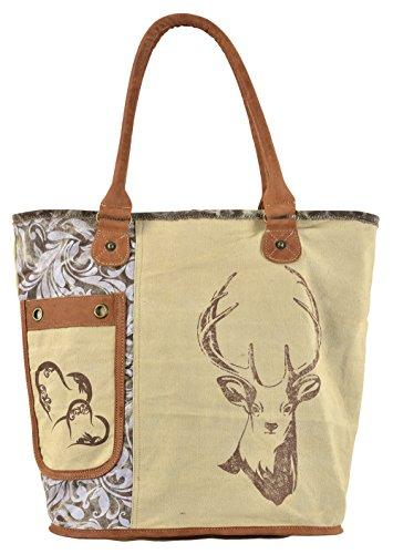 Domelo Tracht Damen Trachtentasche Dirndltasche große Shopper Handtasche Handgelenktasche Vintage Tasche Canvastasche Leder Reisetasche Tote braun Retro Vintage Design Frauentasche Weekender