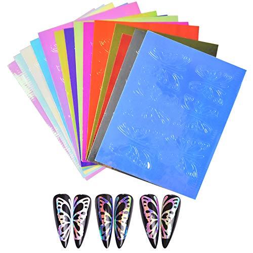 Nail Art Aufkleber Schmetterling, 16 Blatt Bunt Selbstklebend Nail Art Stickers, Nageldesign Sticker, DIY Nagelkunst Abziehbilder für Frauen Mädchen Nail Art Dekoration, Handyhülle Scrapbooking Dekor