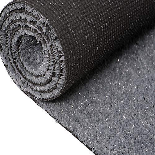 Carpeto Rugs Kunstrasen Rasenteppich für Garten Balkone Terrassen Wintergärten mit Drainage - Höhe: 6 mm Meterware Wasserdurchlässig - Grau 300 x 500 cm