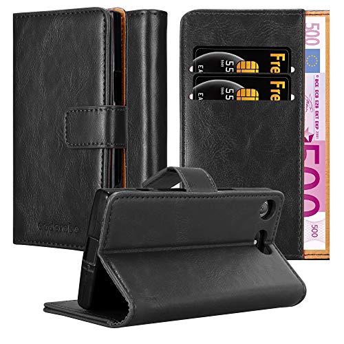 Cadorabo Hülle für Sony Xperia XZ1 Compact in Graphit SCHWARZ – Handyhülle mit Magnetverschluss, Standfunktion & Kartenfach – Hülle Cover Schutzhülle Etui Tasche Book Klapp Style