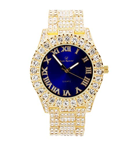 Bling-ed Out Round Metal Mens Color on Blast Silver Tone Watch with Diamond Time Indicators - Ice on Fire!!! - ST10327DxxS (Gold Blue)