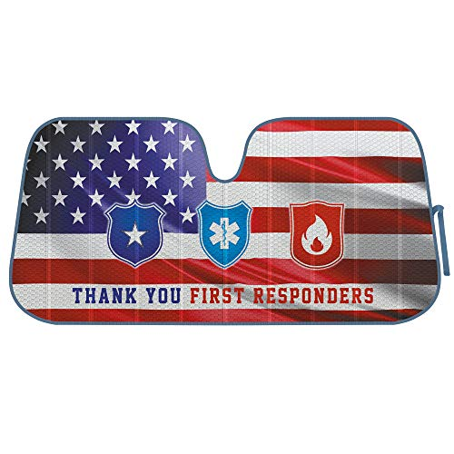 BDK Patriotic First Responders, Front Windshield Sunshade-Accordion Folding Auto Shade for Car Truck SUV-Blocks UV Rays Sun Visor Protector-Keeps Your Vehicle Cool-58 x 28 Inch