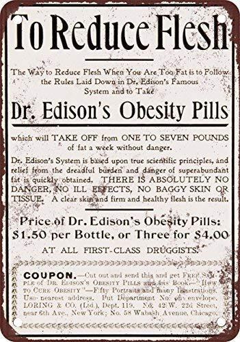 DONJIE 1898 EdisonS Obesitas Pillen Grappig Retro Metalen Tin Teken Voor Bar Keuken Man Grot Familie Club Garage Wanddecoratie 8 X 12 Inch