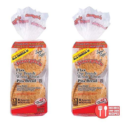 4 Pack Joseph's Flax, Oat Bran and Whole Wheat Flour MINI Pita Bread (Low Carb)