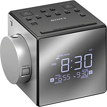 Kubicle Sony Compact AM/FM Dual Alarm Clock Radio with Large LED Display Plus 6ft Aux Cable Bundle