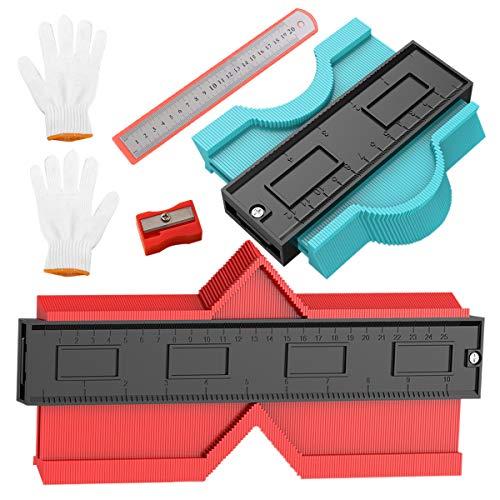 型取りゲージ コンターゲージ 曲線定規 250mm 120mm 測定ゲージ DIY用測定工具 高精度 角度測定 幅広 木工 測定工具 不規則 輪郭コピー ABS目盛付き 6点セット