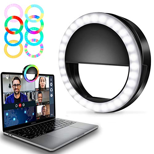 Selfie Ring Light Mini Circle Clip on RGB Lights for Phone, Laptop, Zoom, Video Conferencing, Rechargeable Small LED Ringlight for Webcam, Computer, Conference Lighting, Recording