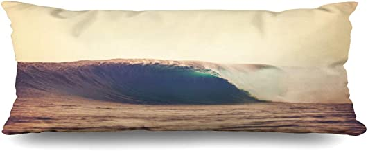 Ahawoso Zippered Body Pillow Cover 20x54 Inches Hawaii Amazing Ocean at Wave Surfer Surf Barrel Breaking Sunset Epic Nature Parks Outdoor Sunlight Decorative Cushion Case Home Decor Pillowcase