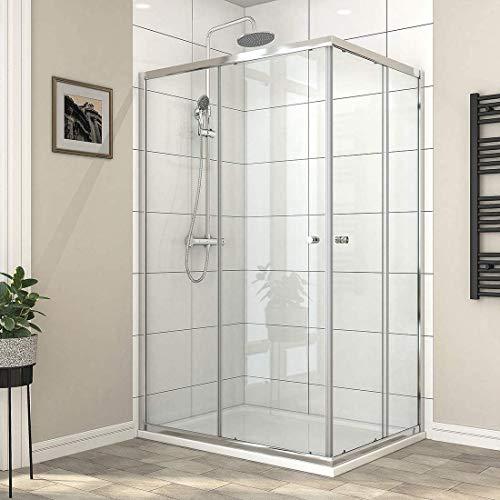 Safeni Duschkabine Eckeinstieg 75x80cm Dusche Doppelt Schiebetür Duschabtrennung Höhe 185cm, 6mm ESG klares Sicherheitsglas