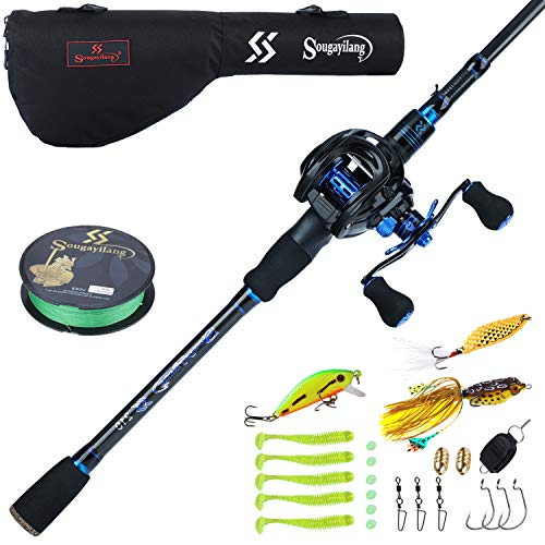 Sougayilang Baitcaster Combo Fishing Rod and Reel Combo, Ultra Light Baitcasting Fishing Reel with Rod Bag for Travel Saltwater Freshwater and Beginner-5.9FT with Right Hand Reel with Rod Bag