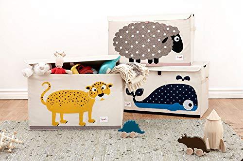 3 Sprouts - Spielzeugtruhe für Kinder - Ablagetruhe für Jungen- und Mädchenzimmer, Wal - 4