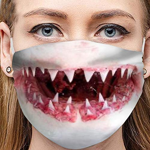 ATRISE Great White Shark Print Face Mask,Reusable Halloween Exaggerated Expression Mouth Cover,Funny Mask